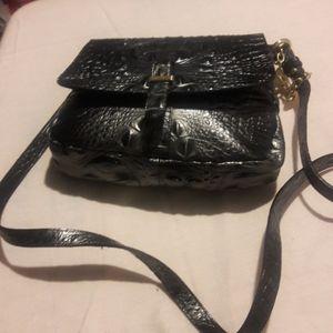 Gunmetal gray crossbody purse